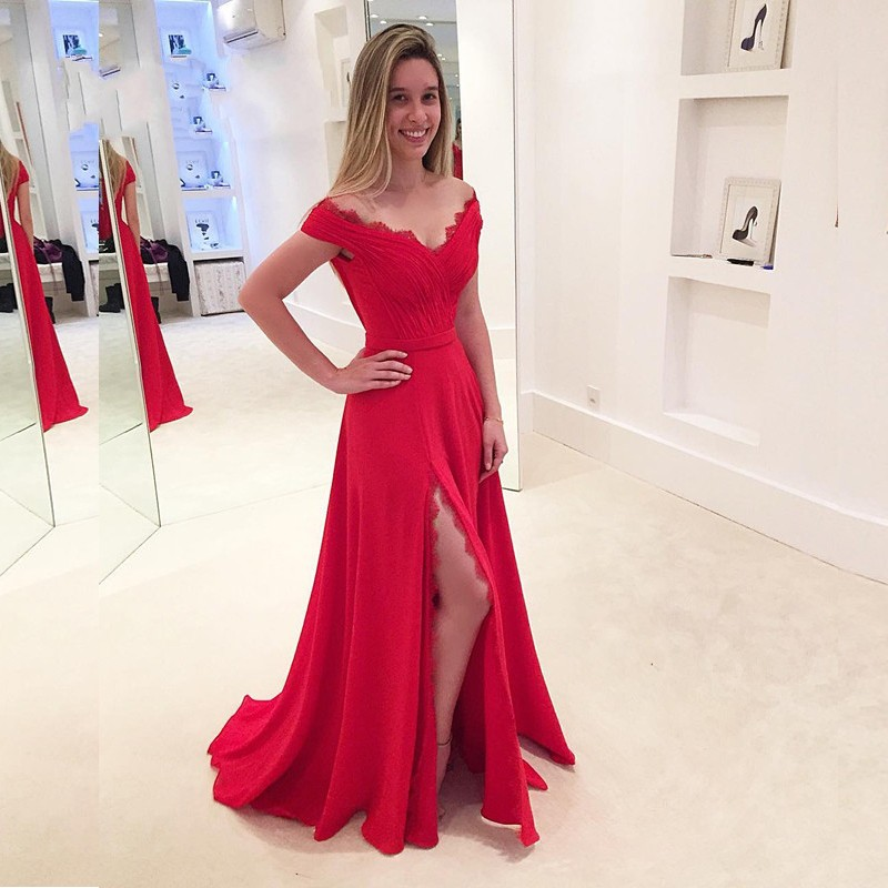 New Red Prom Dress V Neck Side Split Elegant Long Prom Evening Dress Modest Women Prom Dress 2017 F1518