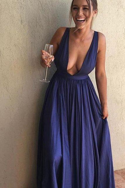 Charming Prom Dress,Blue Prom Dress,Long Prom Dress,Sexy Evening Dress F2240