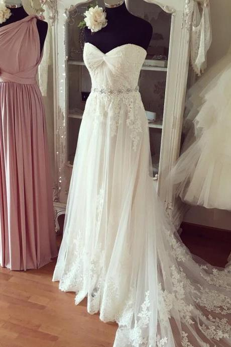 Sweetheart Lace Appliques Beach Wedding Dresses Boho Wedding Gowns Bridal Dresses F2246
