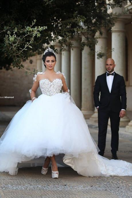 Custom Made Tulle Wedding Dress,Appliques Lace Wedding Dresses,Long Sleevee Wedding Gown,Elegant Bridal Dresses F2463