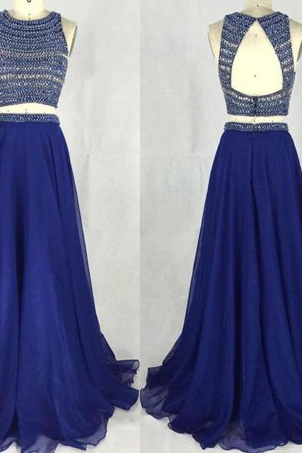 Charming Prom Dress,Two Piece Prom Dress,Long Prom Dress with Beaded, Chiffon Prom Dress,Sexy Evening Dress F2464