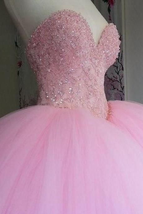 Fuffy Long Prom Dresses,Tulle Sweetheart Prom Dresses, Sleeveless Pink Appliques Quinceanera Dress Evening Dress F2491