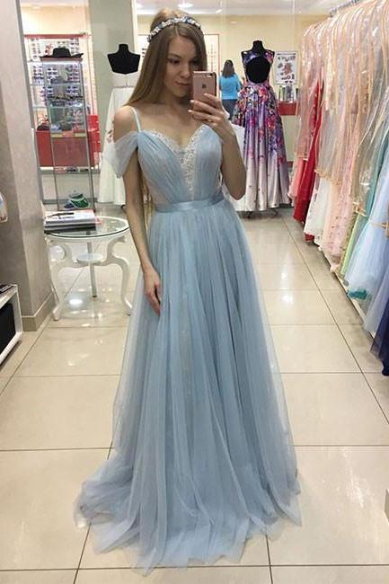 Charming Prom Dress,Tulle Prom Dress,Light Blue Evening Dress,Sexy Simple Prom Dresses F2544