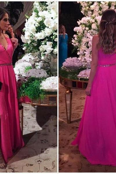 Charming Prom Dress, Sexy Chiffon Prom Dresses,Sleeveless Long Evening Dress,Simple Prom Party Dress F2583