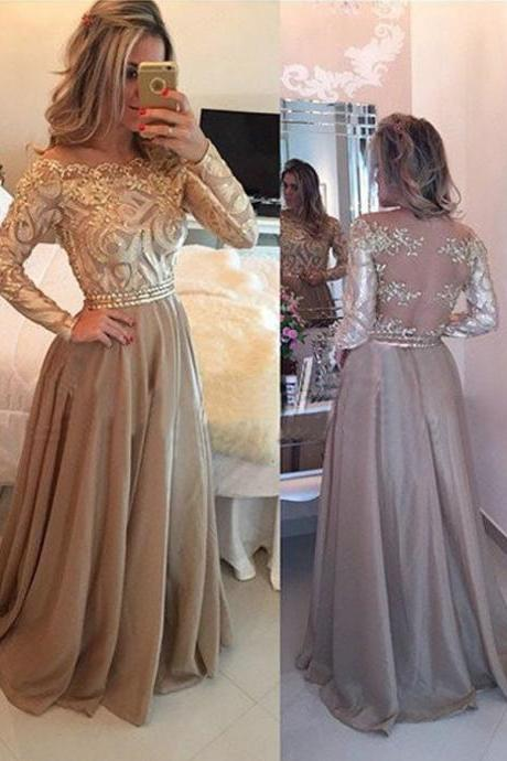 Charming Prom Dress, A Line Prom Dresses, Long Sleeve Evening Dress,Women Dress F2592