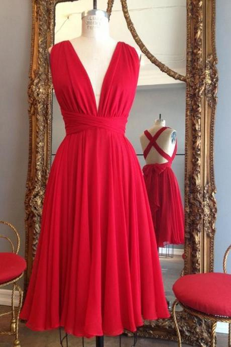 Red Prom Dress,Chiffon Prom Gown,Lovely Party Dress,Elegant Prom Dresses F2623