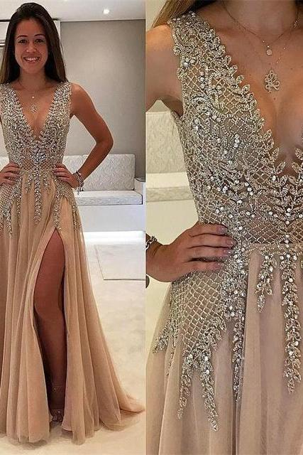 Charming Prom Dress,Sexy V Neck Prom Dress with Slit,Long Prom Dress,A Line Evening Dress F2679