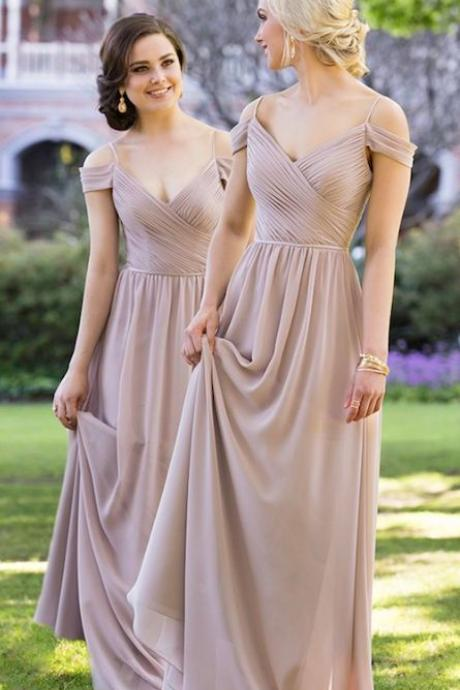 Vintage Chiffon Off Shoulder A Line Prom Dress Wedding Party Gown Bridesmaid Dresses F2680