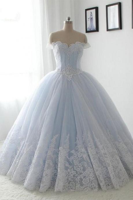 Tulle Prom Dress,Vintage Prom Dress,Light Blue Ball Gown Prom Dress,Lace Quinceanera Dress,Off Shoulder Formal Gown F2702