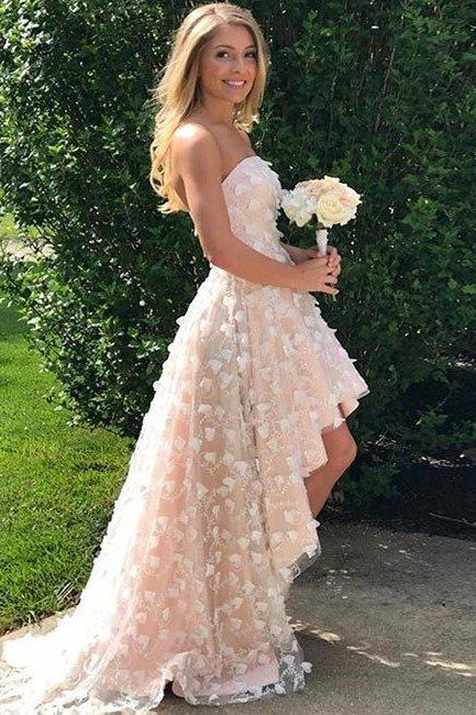 Sexy Prom Dress,Strapless High Low Prom Dresses,Tulle Prom Gown,Party Dress,Pretty Wedding Dress F2706