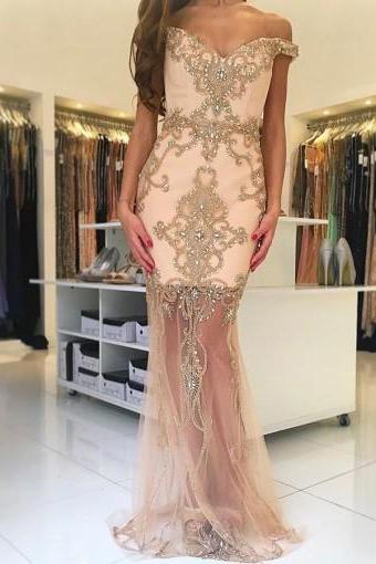 Sexy Off Shoulder Prom Dress,Sheer V Neck Prom Dresses,Tulle Evening Dress,Mermaid Prom Dresses F2728