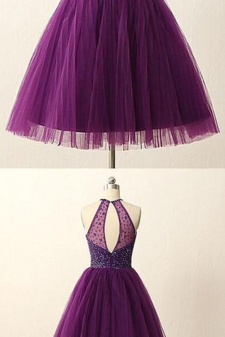 Elegant Purple Homecoming Dress,Short Beaded Prom Gowns,Halter Party Dress,Homecoming Dress,Graduation Dresses F2734