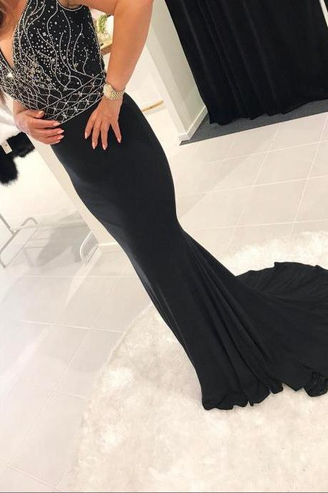 Charming Prom Dress, Sexy V Neck Prom Dresses, Black Mermaid Evening Dress,Gergeous Beaded Formal Dress F3325