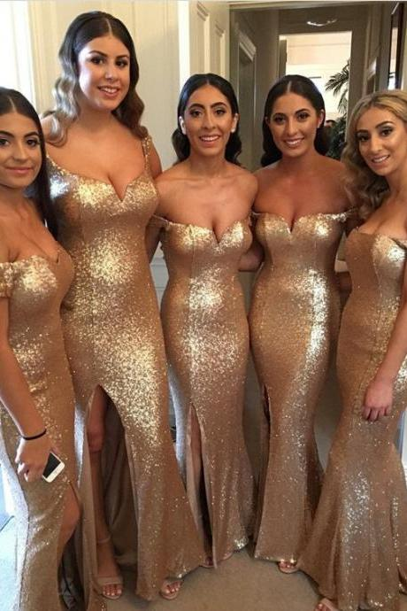 Custom Made Gold Sequin Off-Shoulder Floor Length Mermaid Bridesmaid Dresses with High Split