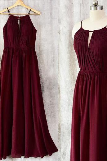 Charming Prom Dress, Elegant Prom Dress,Simple Sleeveless Evening Dress, A Line Burgundy Party Dress F4091