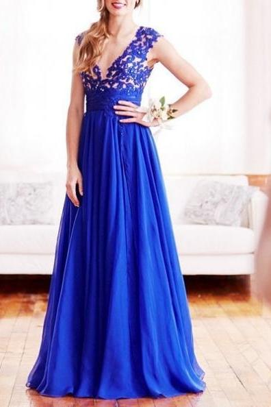 Charming Prom Dress, Blue Prom Dresses, Elegant Evening Party Dress, Long Prom Dress, Formal Dress F4276