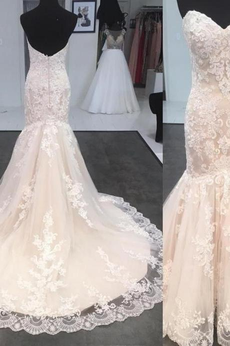 Strapless Sweetheart Lace Mermaid Wedding Dress with Long Train