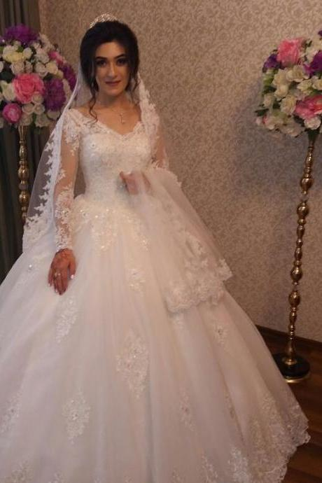 Charming Wedding Dress, Long Sleeve Wedding Dresses, Elegant Appliques Bridal Dress F4448