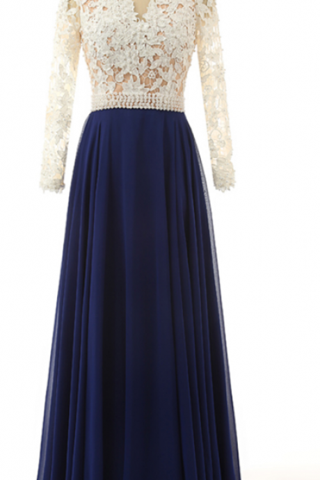 Charming Appliques Prom Dress, A Line Prom Dresses with Full Sleeve,, Long Evening Dress