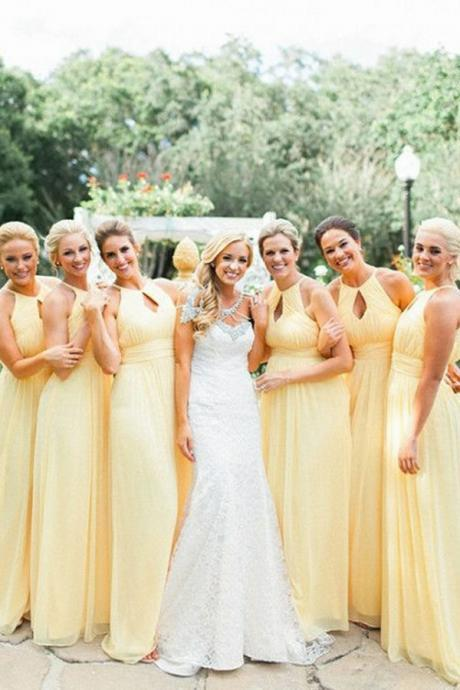 Customisable Yellow Keyhole Neckline Chiffon Floor Length A-Line Bridesmaid Dresses