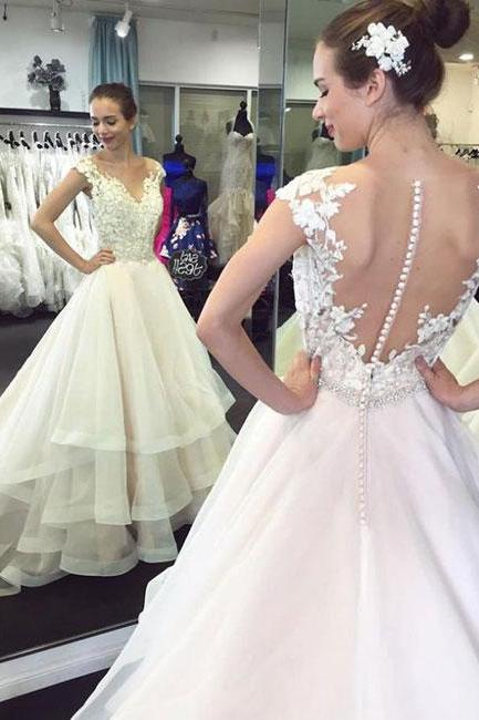 Charming Tulle Appliques Wedding Dress, V Neck Ruffles Bridal Dresses, 2018 Wedding Dresses