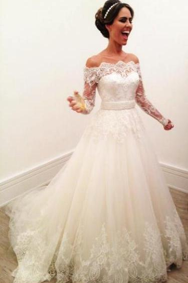 Long Sleeve Lace Wedding Dress, Elegant Tulle Wedding Gowns with Appliques, Formal Bridal Dresses