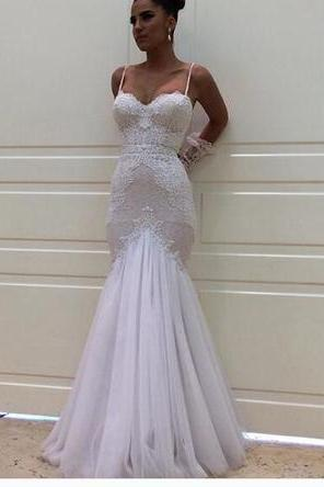 Sexy Spaghetti Straps Appliques Mermaid Long Wedding Dress, Tulle White Wedding Gowns