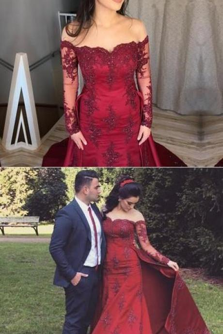 Burgundy Appliques Mermaid Wedding Dress, Full Sleeve Bridal Dresses