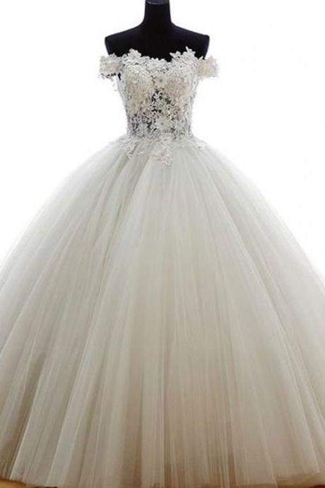 Charming Off Shoulder Appliques Tulle Wedding Dress, Formal Ball Gowns