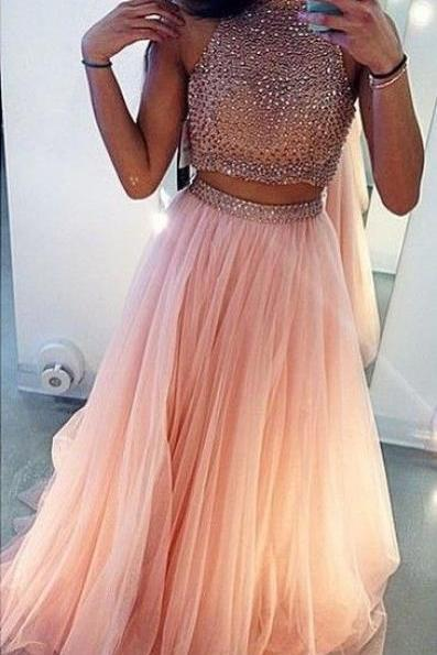 High Neck Two Piece Prom Dress, Tulle Prom Dresses with Beaded, Long Party Dresses