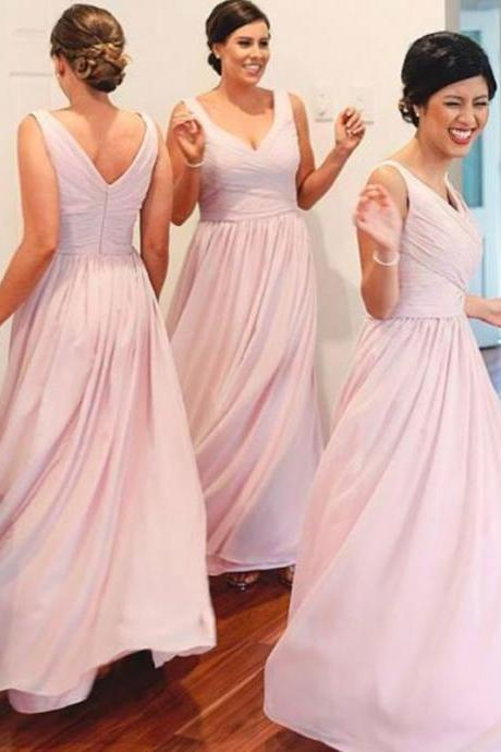 Simple Pink Sleeveless V-Neck Ruched A-line Floor-Length Bridesmaid Dress