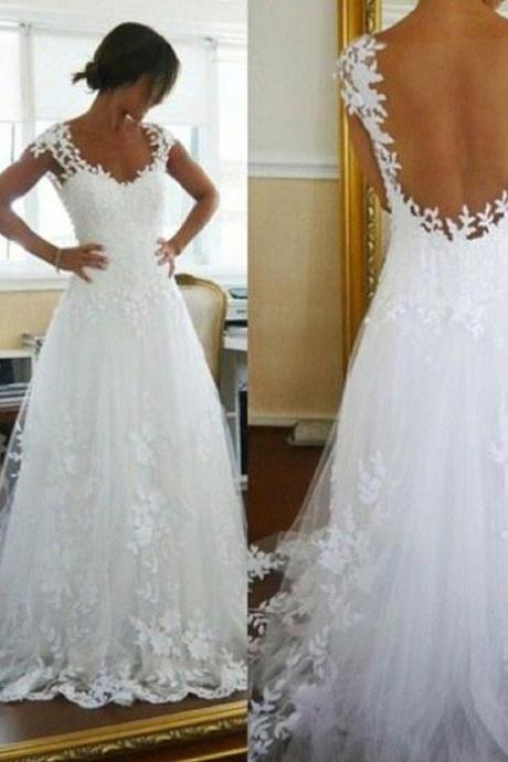 Charming Backless White Wedding Dress, Cap Sleeve Lace Appliques Wedding Dresses, Sexy Wedding Gown