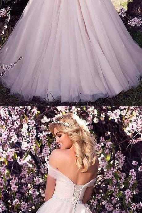 Charming Off Shoulder Tulle Ball Gown Wedding Dresses, Sexy Bridal Dresses