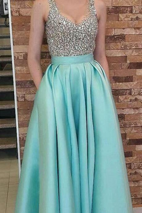 Charming Prom Dress, Elegant Beaded Prom Dresses, Long Homecoming Dress, Evening Dress