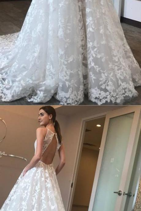 Sexy Deep V Neck Lace Wedding Dresses, 2019 Formal Bridal Dresses
