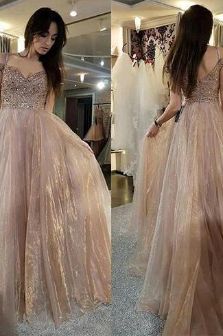 Charming Prom Dress, Sexy Beaded Tulle Prom Dresses, Long Evening Dress