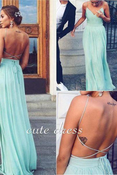 Charming Straps Backless Chiffon Blue Prom Dress, Sexy Evening Party Dress