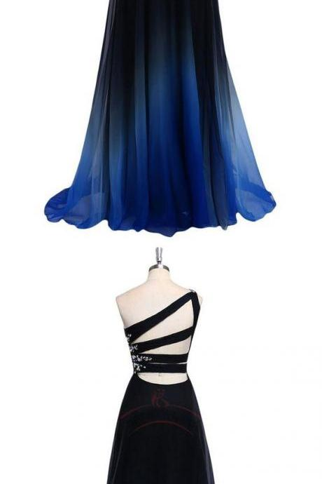 One Shoulder A Line Chiffon Prom Dress, Elegant Long Gradient Color Homecoming Dress