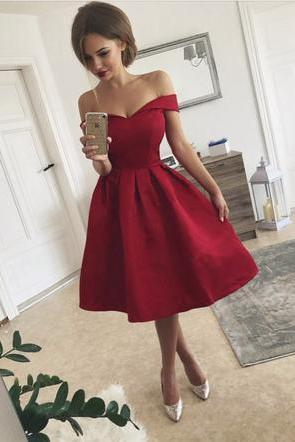 Elegant A Line Wine Red Off Shoulder Short Homecoming Dress Prom Dress