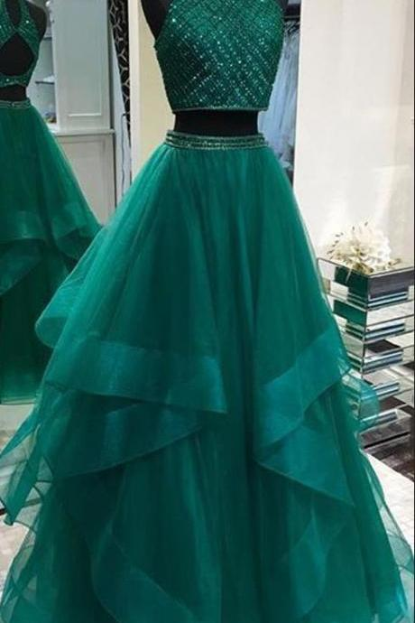 Elegant Green Beaded Two Piece Prom Dress, Long Tulle Prom Dresses, Sleeveless Homecoming Dress for Girls