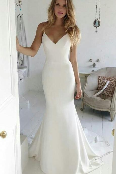 Charming Spaghetti Straps Mermaid Prom Dress, Sexy V neck Satin Evening Dress