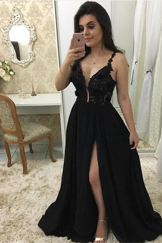Charming Black A Line Prom Dress with Slit, Sexy Spaghetti Straps Evening Party Dress