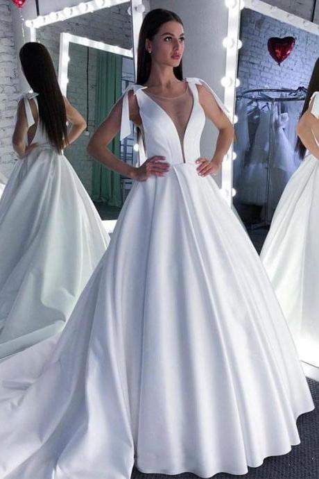 Elegant White Satin Ball Gown Wedding Dress, Formal Wedding Gown