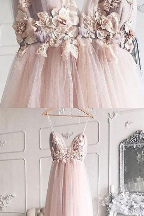 Sexy Spaghetti Straps Tulle Long Prom Dress with Appliques, Handmade Flower Long Prom Dresses