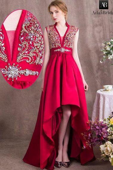 Red High Low Long Prom Dress, Elegant Beaded Homecoming Dress, Long Evening Dress