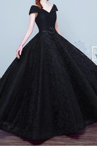 Cap Sleeve Black Appliques Ball Gown Prom Dresses, Elegant Formal Evening Dresses