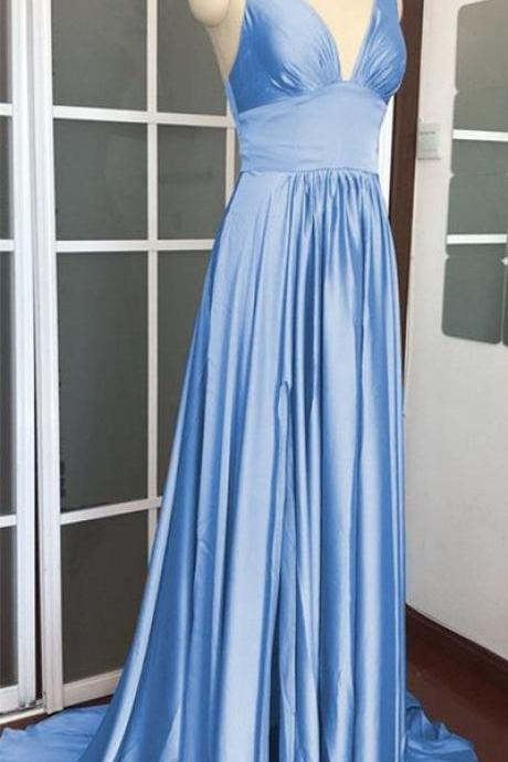 Simple V neck Blue Evening Dress, Long Prom Dress, Formal Dress