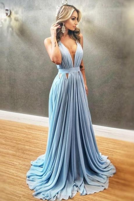 Sexy Blue V neck Blue Evening Dress, Long Prom Dress, A Line Chiffon Prom Dresses