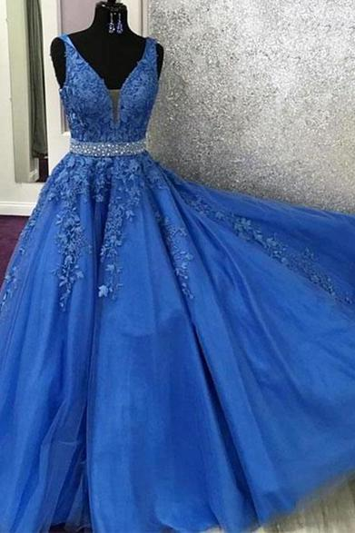 V Neck Royal Blue Lace Graduation Senior Prom Dresses Long with Beading Belt