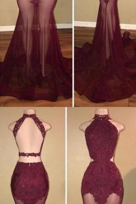 Open Back Burgundy Lace Prom Dresses, Appliques Mermaid Evening Party Dress